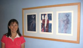 Julia Thomas and some of her artwork
